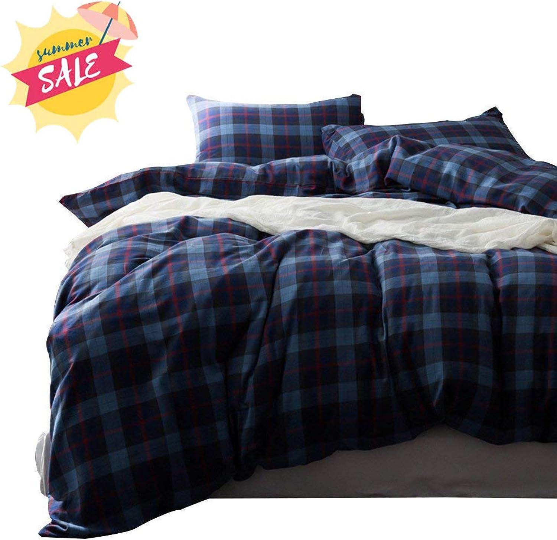 AMWAN bluee Plaid Checkered Duvet Cover Set Queen Cotton Grid Bedding Set Full Hotel Quality 3 Piece Duvet Comforter Cover Set Zipper Closure Cotton Quilt Cover Full Queen Bedding Collection