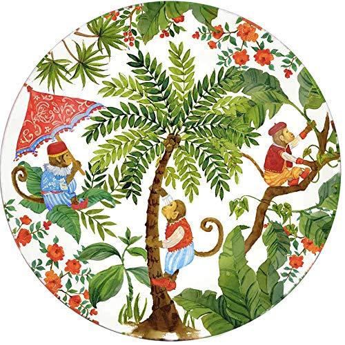 Les Jardins de la Comtesse - Grande Assiette en Verre Trempé thème Singes de Bali - Très résistante - 29,5 cm – Plat de Présentation - Fond Blanc - Convient Aux Tables d'Extérieur et d'Intérieur