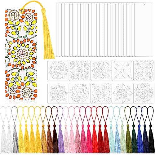 70 Pieces DIY Bookmark Set Includes 30 Pieces Blank Cardstock Bookmarks 5.5 x 2 Inch 30 Pieces Tassels and 10 Pieces Mandala Templates for DIY Projects, Crafts, Presents