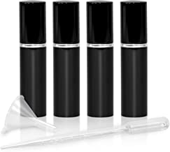 Refillable Perfume & Cologne Fine Mist Atomizers with Metallic Exterior & Glass Interior - Portable Travel Size - 3ml Squeeze Transfer Pipette Included - 4 Pc Pack of 5ml (Black)