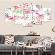 Canvas Art Wall 5 Painting Flowers And Birds Artwork 5 Panels Wall Art Canvas Paintings Wall Decor Wall Art Picture Wall Painting For Home Office Decor 150Cmx80Cm(59X32In)