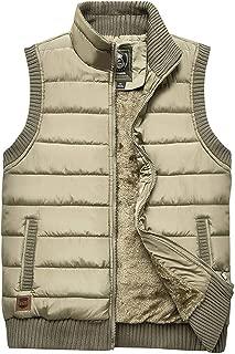 Vcansion Men's Outdoor Stand Collar Fleece Jacket Vest Casual Padded Vest Coat