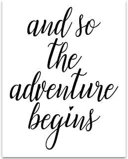 And So The Adventure Begins - 11x14 Unframed Typography Art Print - Great Inspirational Gift Under $15