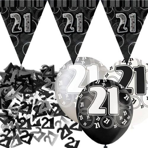 Kit de décoration de fête Noir et Argent 21 ans avec bannière avec fanions