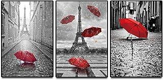 KKZZZ 3 Paneles Lienzos Giclee Paris Blanco y Negro con Torre Eiffel Paraguas Rojos Arte de Pared Voladora Paisaje Decoración de Pared Vista de Calle Lienzo Imagen de Arte de Pared - Sin Marco,30x40
