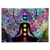 MOVKZACV Tapiz bohemio de siete chakras, diseño de mandala, meditación, yoga, tapiz para colgar en la pared, para sala de estar, dormitorio, decoración