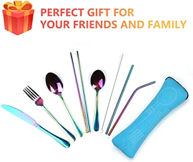 Reusable Travel utensils cutlery set with Case, OHFUN Stainless Steel Portable Flatware Set Silverware Set for Camping Picnic