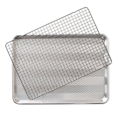 Nordic Ware 2-Piece Set-Prism Half Sheet w/Oven Safe Nonstick Grid, Aluminum