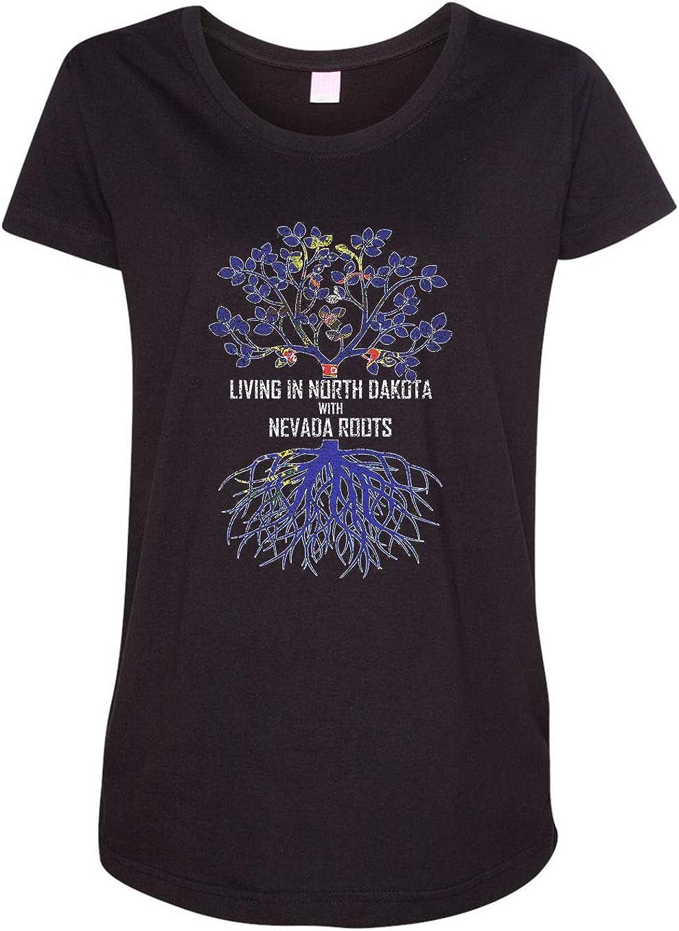 HARD EDGE DESIGN Women's Living in North Dakota with Nevada Roots T-Shirt