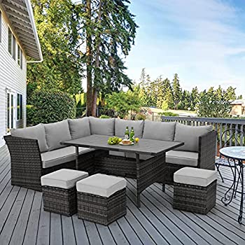 U-MAX 7 Pieces Outdoor Patio Furniture Set,Wicker Patio Furniture Set with Table and Chair Outdoor Furniture Sets Clearance,Grey Rattan Outdoor Sectional with Grey Cushion