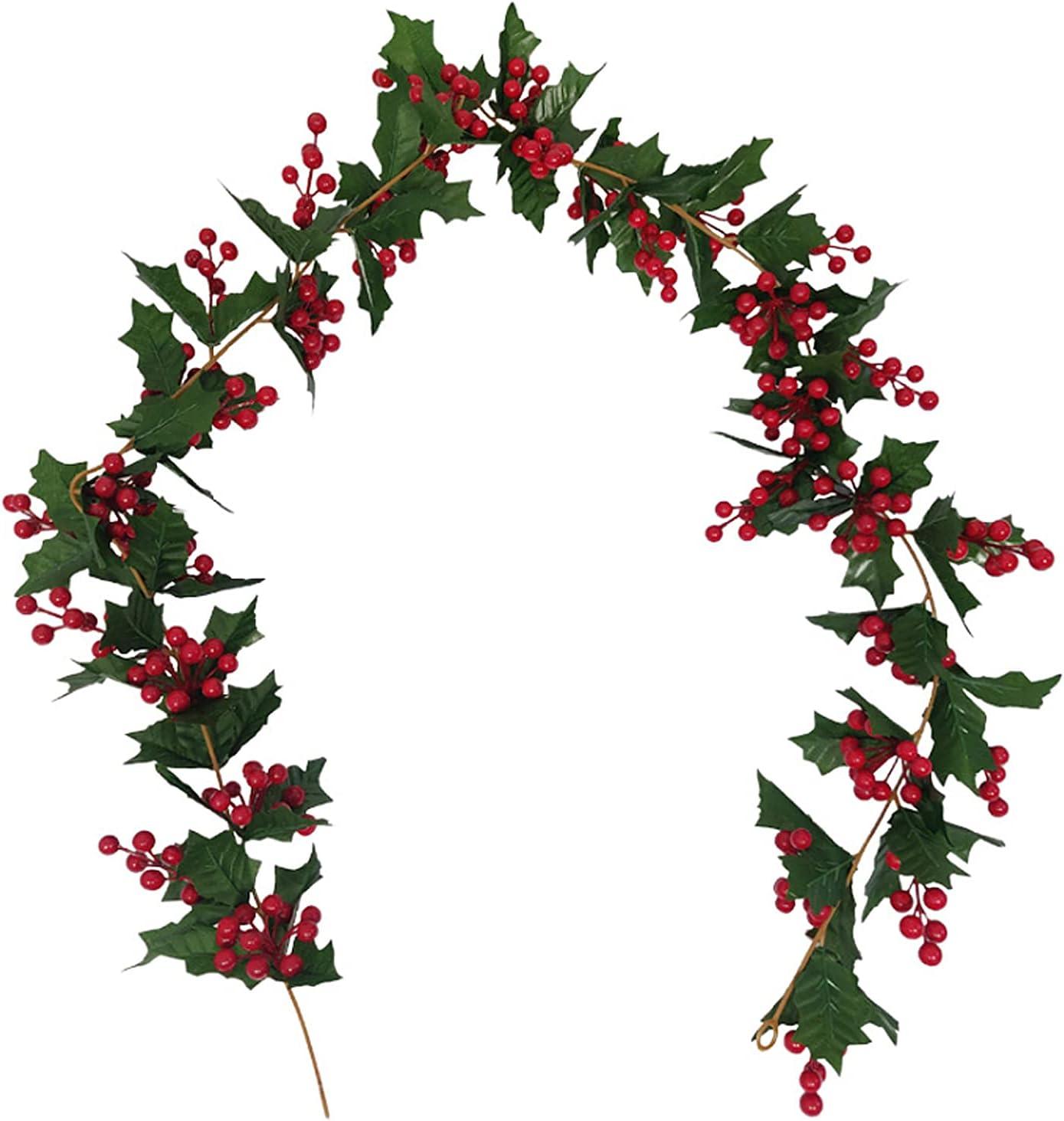 INIFLM Spasm price 5.5 Feet Christmas Red Berries with Leaves Green Ch Vine Brand Cheap Sale Venue