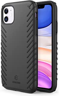 EUASOO iPhone 11 case,  Shockproof Hard PC+ Soft TPU Double Protection,  Stylish Slim Lightweight Non-Slip Cover Case,  Support Wireless Charging,  Only Compatible for 2019 iPhone 11 6.1 Inch (Black)
