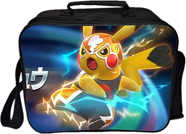 GD Clothes Kids Detective Pikachu Lunch Bags Insulated Lunch Bag Waterproof Lunch Boxes For Travel Outdoor School