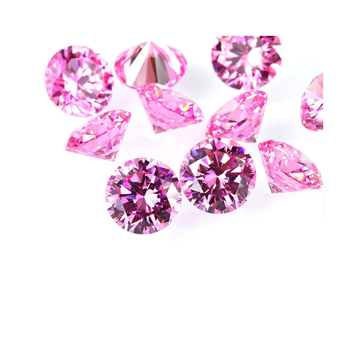 Alone Moon Loose Pink Round Cubic Zirconia high Temperature do not Change Color Support Wax inlaying (3.0mm-500pcs)