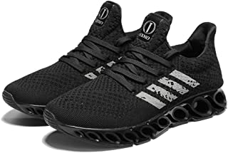 Yong Ding Men Breathable Sneakers Lightweight Lace Up Athletic Trainers Non Slip Shock Absorbing Road Running Shoes