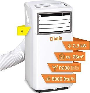 Climia CMK 2600 mobil luftkonditionering med ekologiskt kylmedel, 3-i-1 luftkonditionering – luftkondition, fläkt och avfu...