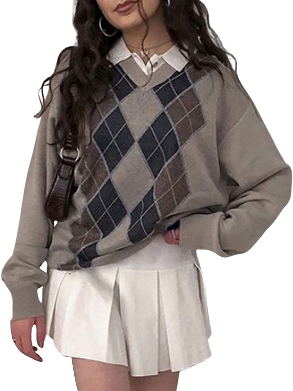 Women Casual Long Sleeve Knitted Sweaters Streetwear Oversized Chunky Pullover Argyle Plaid Knit Jumper Tops