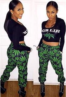 f19f03faa5 Gloshop Women's High Life Weed Print Pant Set