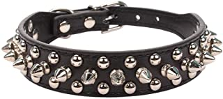 haoyueer Basic Classic Mushrooms Spiked Rivet Studded Adjustable Pu Leather Pet Collars for Cats Puppy Small Medium Dogs