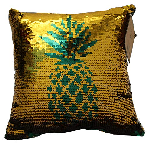 Posh Home (Dark Green/Gold Pineapple Mermaid Sequin Reversible Decorative Throw Pillow Couch Sofa Bed 12'x12', 12x12