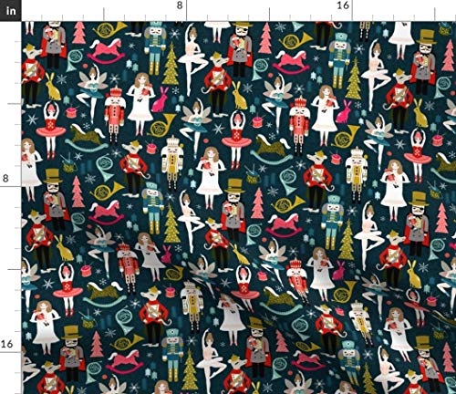 Spoonflower Fabric - Nutcracker Ballet Holiday Xmas Christmas Cloth Printed on Petal Signature Cotton Fabric by The Yard - Sewing Quilting Apparel Crafts Decor