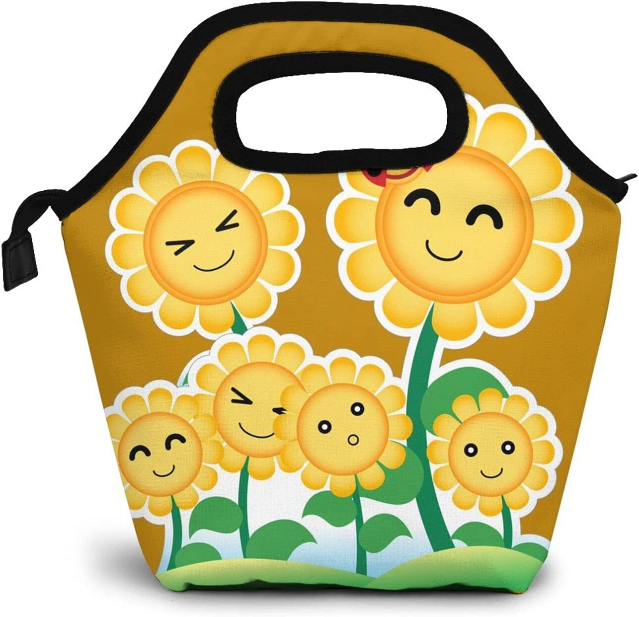 Smiling Cartoon Sunflower Lunch Box Insulated Durable Meal Bag Yellow Flowers Reusable Waterproof Snack Bag Portable Food Container Tote Bags For College Work Picnic Hiking Beach Fishing
