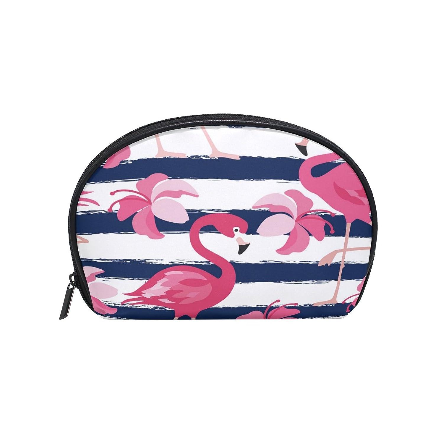 ガード無秩序朝の体操をするALAZA フラミンゴストライプ 半月 化粧品 メイク トイレタリーバッグ ポーチ 旅行ハンディ財布オーガナイザーバッグ