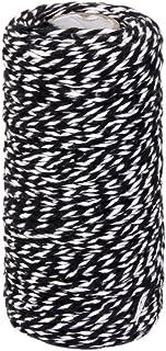 ROSENICE Baumwoll Garn Bastelschnur Geschenkband Baumwollschnur 100M Schwarz Weiß