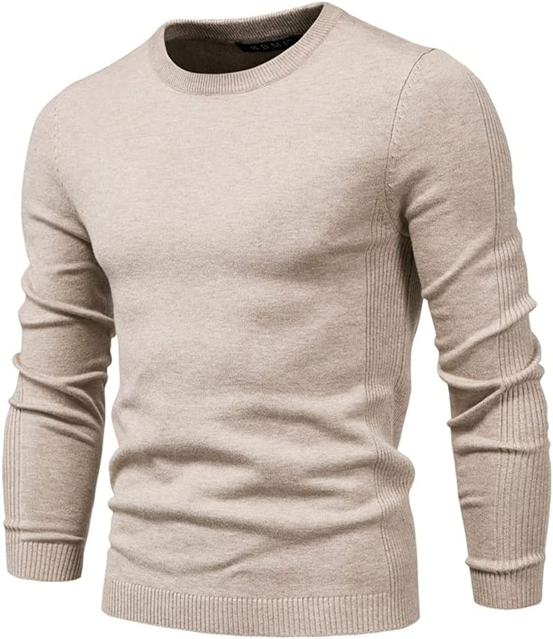 AAKKY Winter Thickness Pullover Men O-Neck Solid Color Long Sleeve Warm Slim Sweaters Men Men's Sweater Pull Male Clothing (Color : Khaki, Size : L Code)