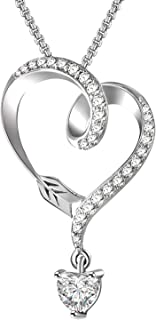 925 Sterling Silver Necklace for Women With Heart Cublic Ziron, Infinity Arrow Heart Pendant Necklaces for Girls Girlfriend Wife Anniversary Presents -Luxury Box
