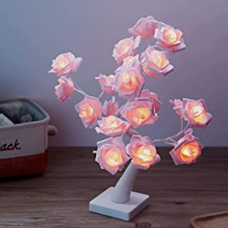Table Lights Tree Shape 24Warm White LEDs Battery Operated1.44Ft Desk Lamp Pink Adjustable Rose Flower Fairy Lights Adjust...