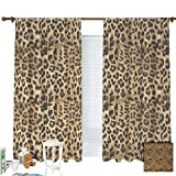 ZXAWT Brown Leopard Print Animal Skin Digital Printed Wild African Safari Curtains Pocket top Curtain Thermal Insulated Curtain for -Set of 2 Panels(W 63' L 63')