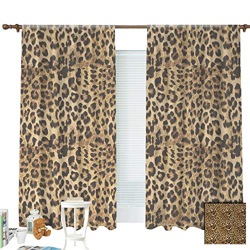 """ZXAWT Brown Leopard Print Animal Skin Digital Printed Wild African Safari Curtains Pocket top Curtain Thermal Insulated Curtain for -Set of 2 Panels(W 63"""" L 63"""")"""