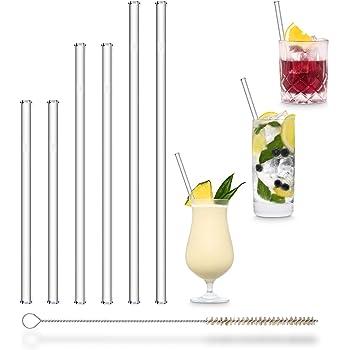 HALM Pajitas de cristal reutilizables ecológicas - 6 piezas, 3 tamaños - Pajitas + cepillo de limpieza ecológico - apto para lavavajillas - Sostenible - Pajitas de vidrio para cóctel, batido, smoothie