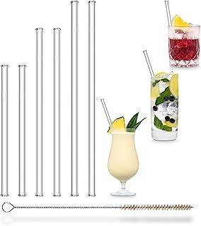 Halm glazen rietjes, verschillende verpakkingen: 6 herbruikbare drinkrietjes in 3 maten + kunststofvrije reinigingsborstel...