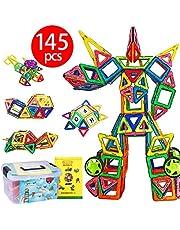 磁石ブロック マグネット3d立体パズル 145ピース(磁気ブロック99個 他の車輪・パネルパーツ46個) FlyCreat 収納ケース付き