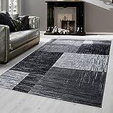 Teppich modern Design Teppich Rechteck Kariert Vintage Meliert Schwarz, Maße:200 cm x 290 cm