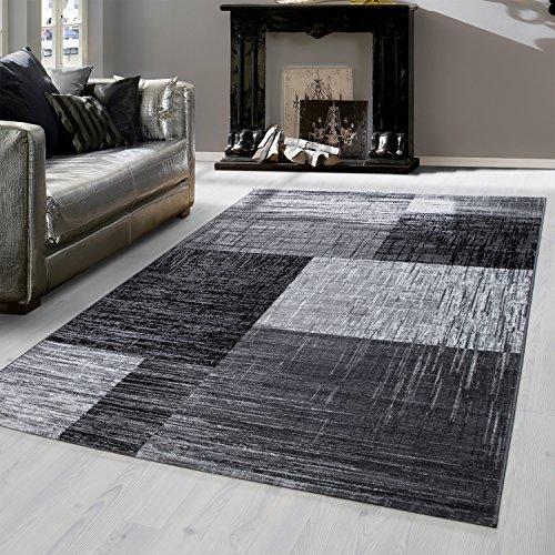 Teppich modern Design Teppich Rechteck Kariert Vintage Meliert Schwarz, Maße:160 cm x 230 cm