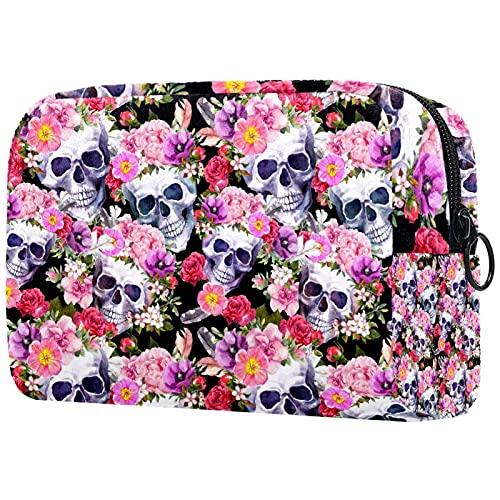 Bolsa de maquillaje divertida para mujer y niña, bolsa de cosméticos espaciosa con cierre de calavera y huesos cruzados