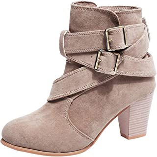 FORUU Women Casual Buckle Strap Shoes Martain Boots Suede Ankle Boots High Heeled Boot