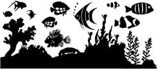 Indoor Wall Decor Fish Tank Sticker Aquarium Decorations Under The Sea Ocean Bedroom Wall Sticker Decal Kids Bedroom Decor. Cut-outs Rearrange individual Fish Personalized Fish Tank Decorations-PURPLE
