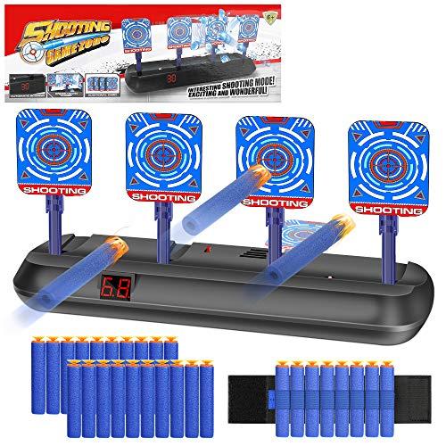 Elektronisches Digital-Ziel,Zielscheibe für Nerf Pistole, Auto Reset Elektro-Schießscheiben,Automatische Rücksetzung Sound Score-Ziele der Smart Lighting-Simulation für Nerf Alle Spielzeugblasters