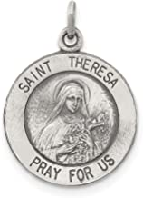925 Sterling Silver Solid St. Theresa Medal (20mm x 15mm)