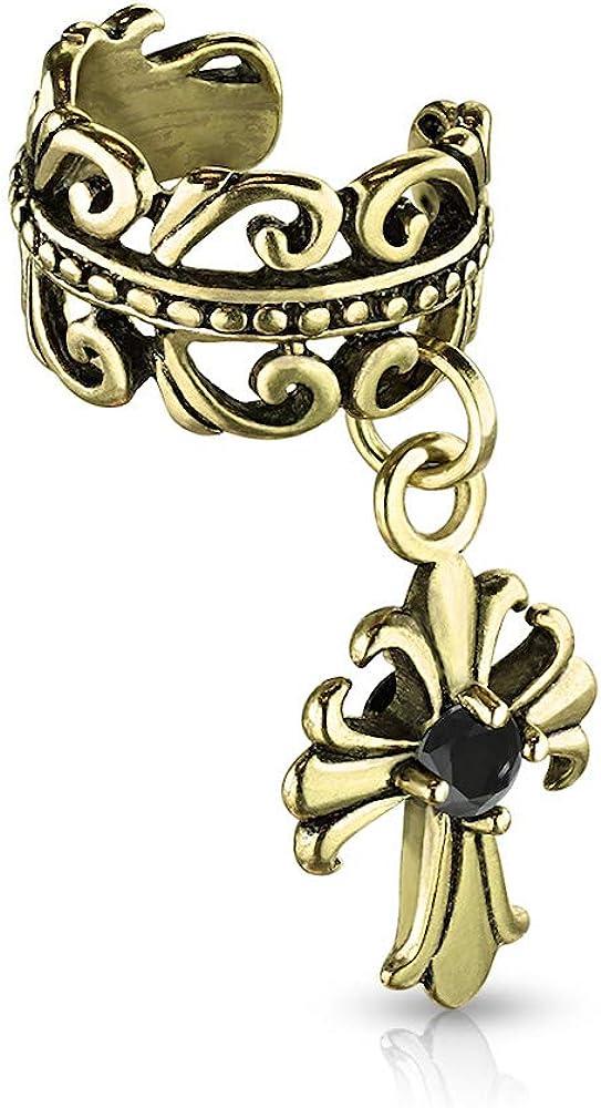 Covet Jewelry Celtic Heart with Black CZ Centered Fleur De Lis Cross Dangle Non-Piercing Ear Cuff