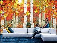 カスタム写真壁紙壁画ウォールステッカー赤葉白樺の森テレビ3d壁紙-150cmx105cm(59.1x41.3inch)ポスター-不織布-壁紙-ステッカー