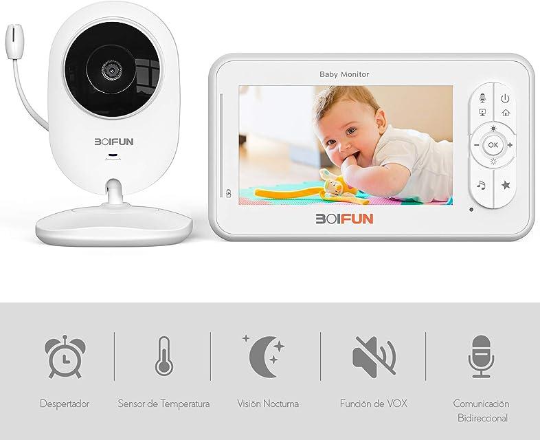 Vigilabebés con Cámara BOIFUN Bebé Monitor Inteligente con Pantalla LCD de 4.3 VOX Visión Nocturna Monitoreo de Temperatura Despertador Comunicación Bidireccional Recargable