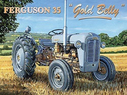RKO Ferguson 35 Or Ventre Gris Fergie Tracteur Agricole Ancien Garage-Parent - 9 x 6.5 cm (Magnet)