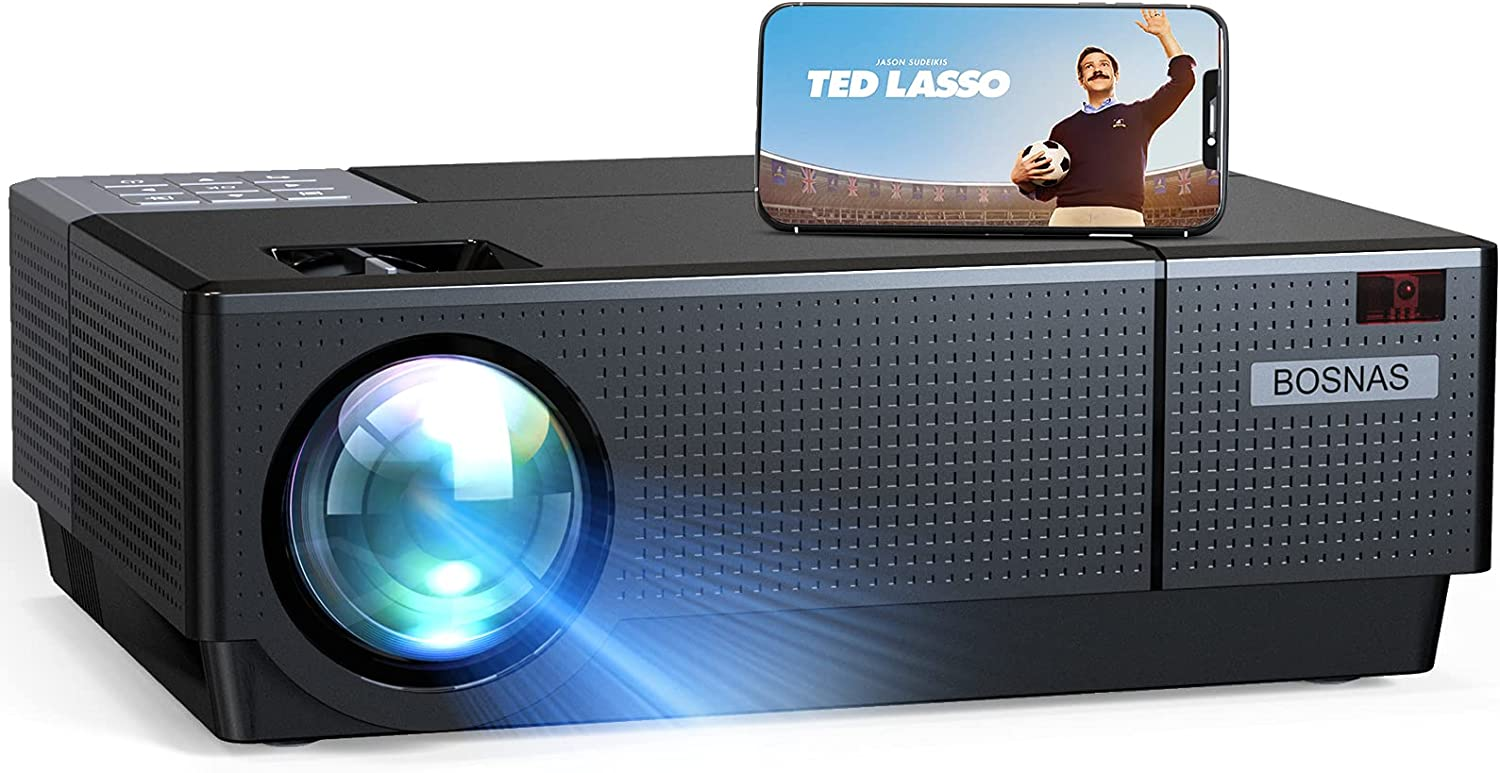 Projector, BOSNAS 8000 Lux Home Video Projectors, 1920×1080P, Support 300