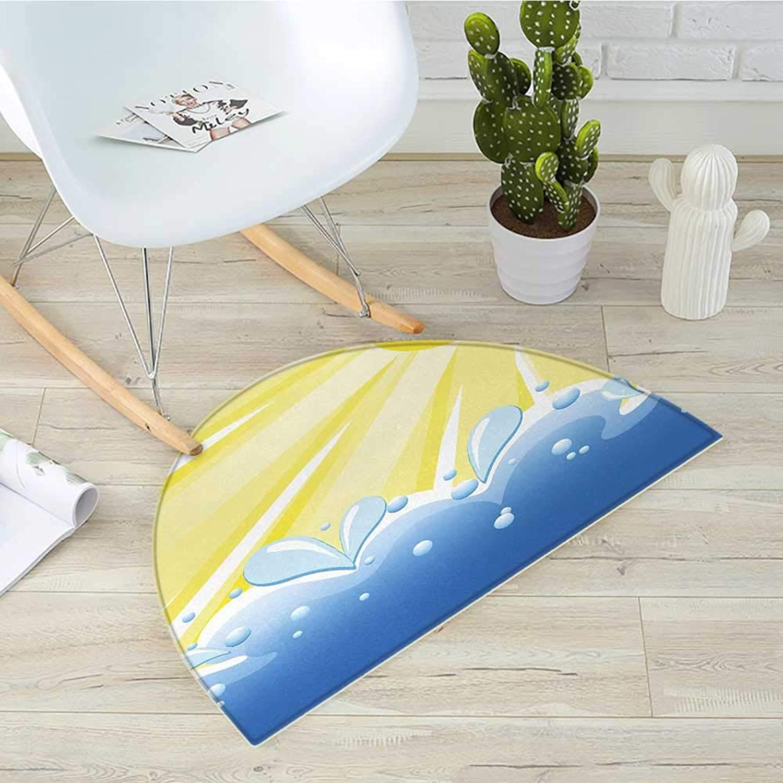 Landscape Semicircle Doormat Vector Illustration of Shining Sun Over The Wavy Sea Summer Theme Print Halfmoon doormats H 51.1  xD 76.7  Yellow and bluee