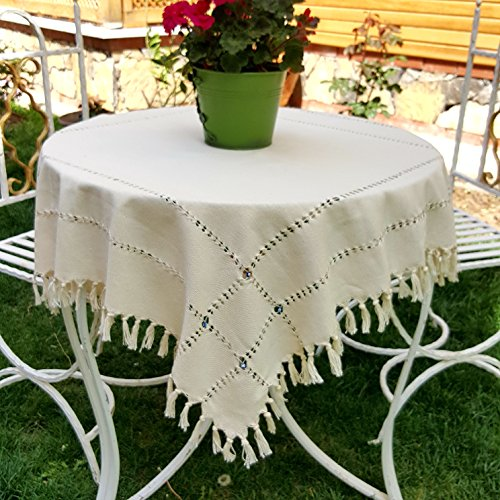 """Secret Sea Collection, Antique Series, Handmade Tablecloth Decorated with Blue Beads (100% Cotton) (36"""" X 36"""")"""